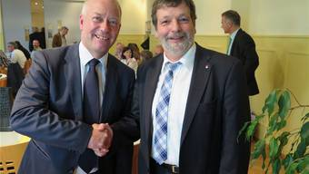 Martin Wey, Präsident des OGG, und Roland Heim als Gastreferent.