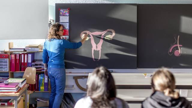 Sexualkunde-Unterricht an einer Schule (Archiv)