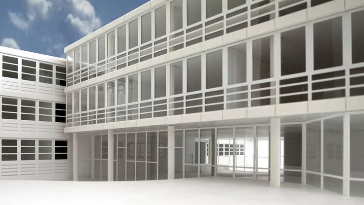 Der Erweiterungsbau mit drei Geschossen schmiegt sich nahtlos ans Hauptgebäude an.