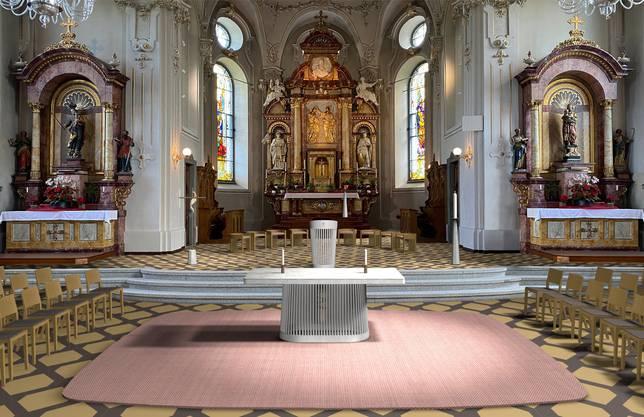 Die Visualisierung der Variante Nähe zeigt, wie der Altar im Kirchenschiff stehen soll. Der Altar soll tragbar aus Stein und Holz sein.