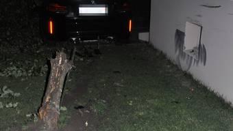 Der Lenker fuhr auch gegen einen Baum und die Fassade.