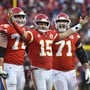 Quarterback Patrick Mahomes (Bildmitte) führte die Kansas City Chiefs in den Super Bowl