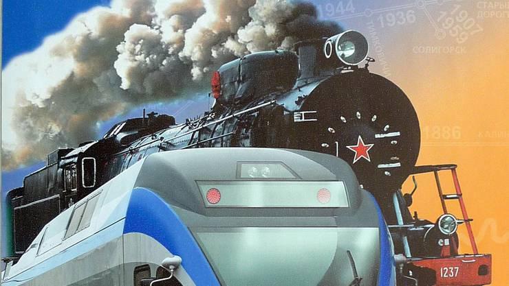 Stadler-Rail-Zug auf dem Plakat der weissrussischen Eisenbahn. HO