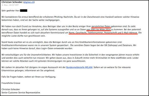 Noch am gleichen Tag erhielt der Digitec-Kunde eine weitere, beunruhigende Nachricht. Nun bestätigte das Unternehmen, dass Betrüger in den Besitz von Digitec-Kundendaten gelangt seien.