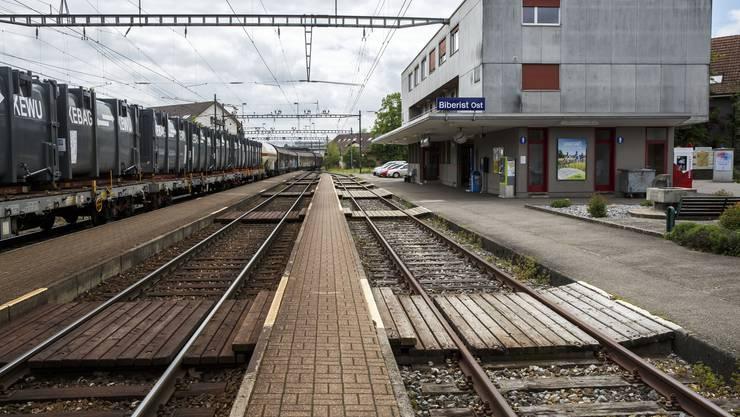 Die Gleise am Bahnhof Biberist Ost werden umgebaut.