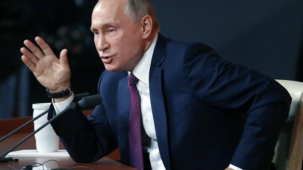 Russlands Präsident Wladimir Putin an der Pressekonferenz in Moskau.