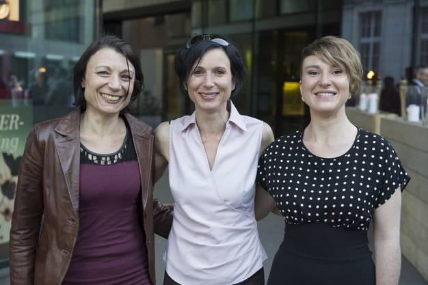 Prominentes Politikerinnentrio (v. l.): Yvonne Feri (Nationalrätin, SP), Pascale Bruderer (Ständerätin, SP) und Irène Kälin (Grossrätin und Nationalratskandidatin der Grünen).