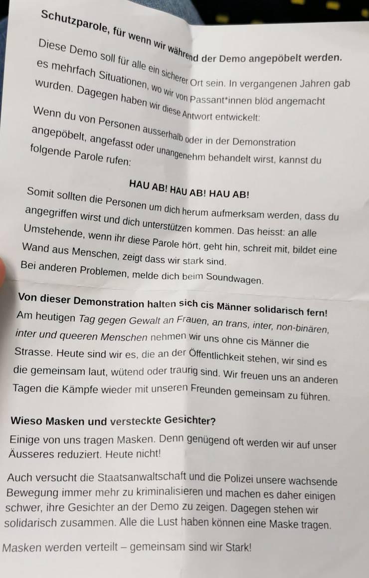Diese Flyer wurden an der Kundgebung verteilt.