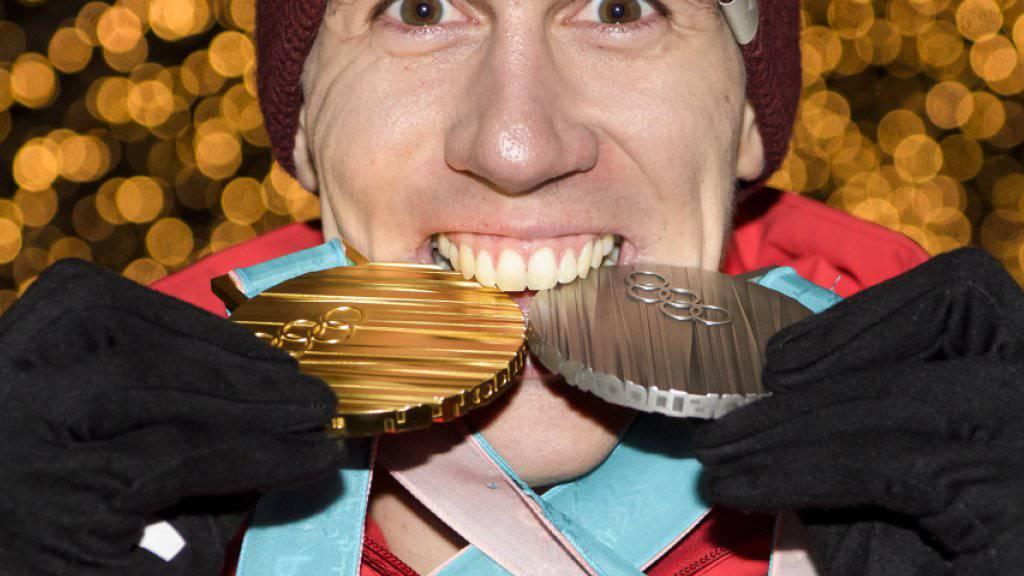 Ramon Zenhäusern gewann an den Winterspielen in Südkorea Silber im Slalom und Gold im Team-Event
