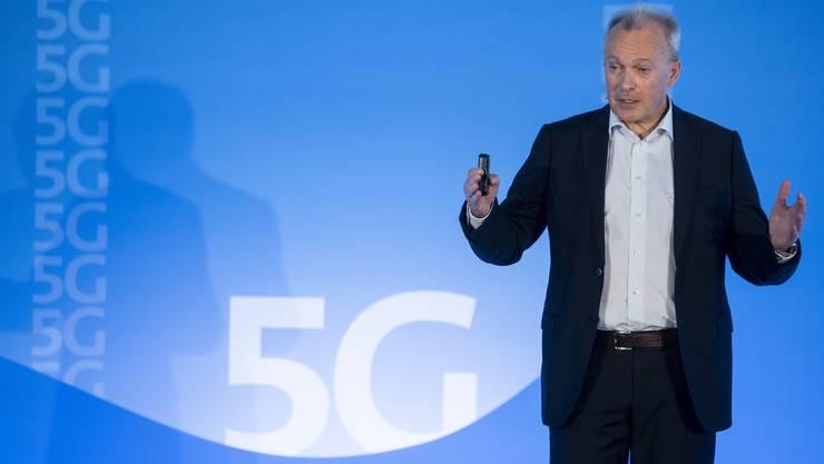 Swisscom-CEO Urs Schaeppi sprach im April 2019 an einer Medienkonferenz über die Anwendungen von 5G-Netzen.