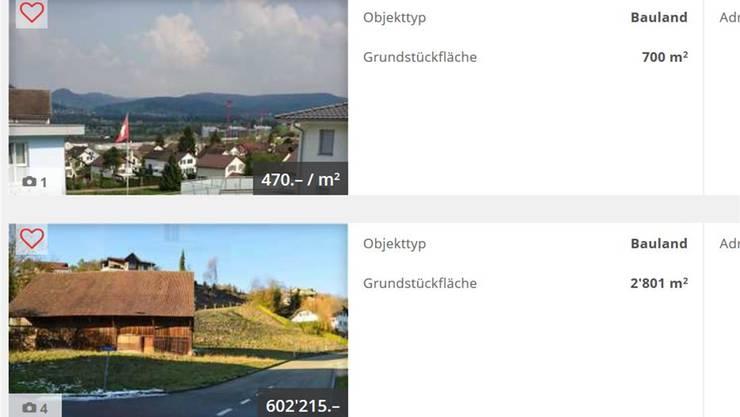 Homegate bietet 0,62 Hektaren Bauland an, ZurzibietRegio weiss von 179,4 Hektaren.az