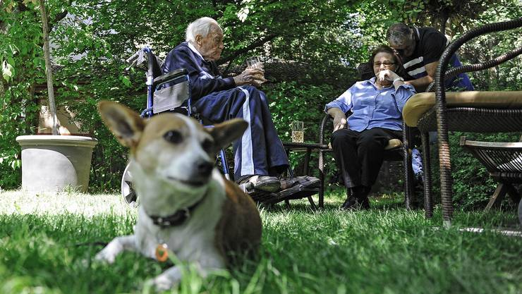 Zwei Tage vor dem Tod David Goodall erholte sich im Garten eines Basler Hotels von den Strapazen seiner Weltreise.