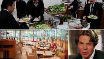 Michael Käfer (Bild ganz rechts, in einer ZDF-Sendung) leitete die Käfer Stube (rechts) und war um das Catering an Grossanlässen wie der Baselworld besorgt (grosses Bild oben).