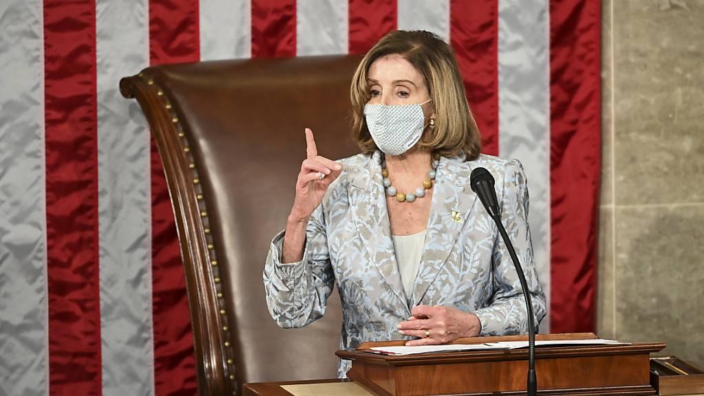 Nancy Pelosi, Sprecherin des Repräsentantenhauses der USA, am Eröffnungstag des neuen US-Kongresses.