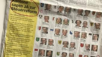 «Kantone sagen JA zur Steuerreform», steht heute im grossformatigen Inserat im «Tages-Anzeiger». Zuunterst: Konferenz der Kantonsregierungen – nur weiss die nichts davon.