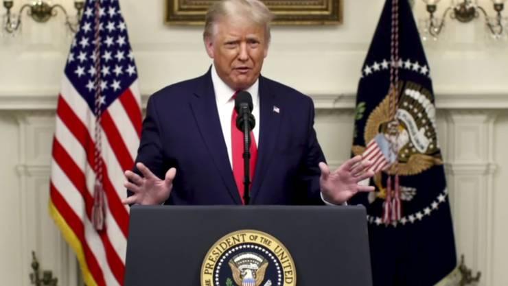 SCREENSHOT - Donald Trump, Präsident der USA, spricht während einer vorab aufgezeichneten Videobotschaft anlässlich des Beginns der Generaldebatte der 75. UN-Vollversammlung. Foto: Uncredited/UNTV/AP/dpa