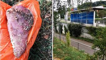Dieses Stück Fleisch fand eine Hundehalterin beim Klingnauer Bahnhof.