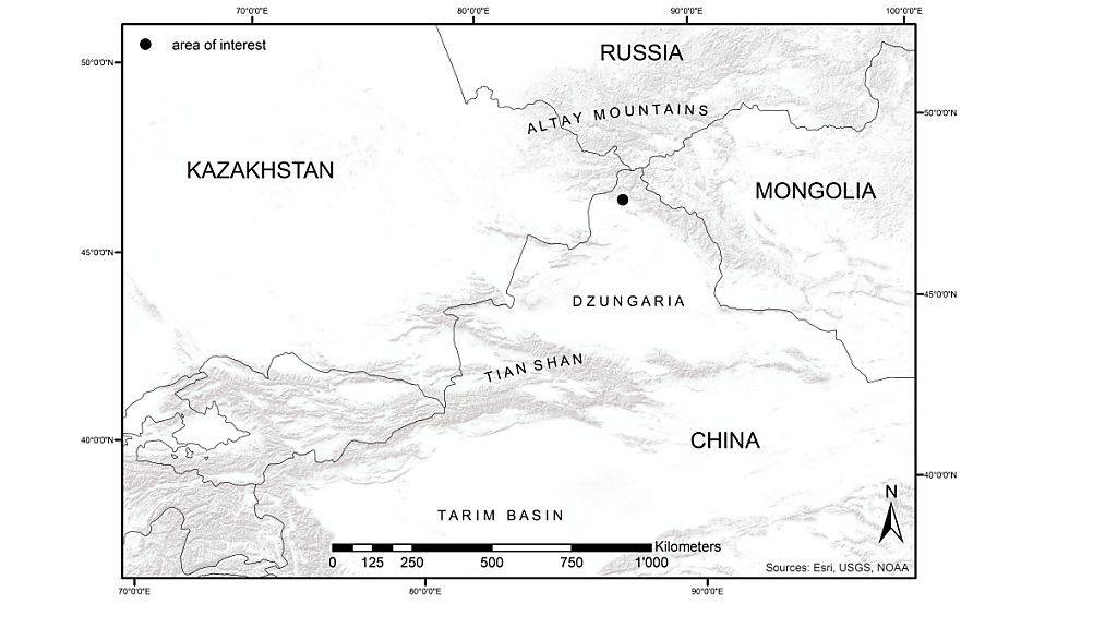 Karte des Forschungsgebiet in Xinjiang in China.