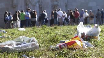 Dieses Plastikproblem ist gut sichtbar: Abfall auf einer Wiese in Genf.