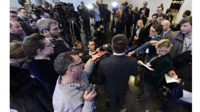 Die russische und amerikanische Auslandpresse ist immer dabei: Sie fliegt jeweils im Staatsjet ihrer Regierung mit. Foto: Laurent Gillieron/Keystone