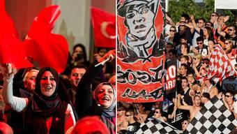Anhänger des türkischen Premiers Ahmet Davutoglu im Badener Trafo links, Anhänger des FC Aarau im Brügglifeld rechts.