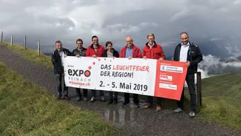 Christian Schweizer (Wyna-Expo), Christian Gerber (EWS), Urs Eichenberger (AKB), Jeannine Maurer, Christian Fischer, Michael Dubach, Matthias Haller (alle Expo, v. r.).