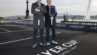 Roger Federer und Björn Borg lancieren in Genf die dritte Ausgabe des Laver Cups, die im September stattfindet
