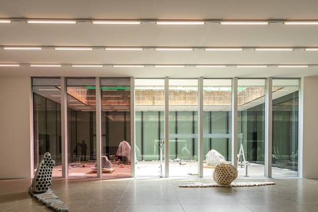 Der Künstler Julian Charrière baut seine Ausstellung im Aargauer Kunsthaus auf. Aufgenommen am 25. August 2020 in Aarau.