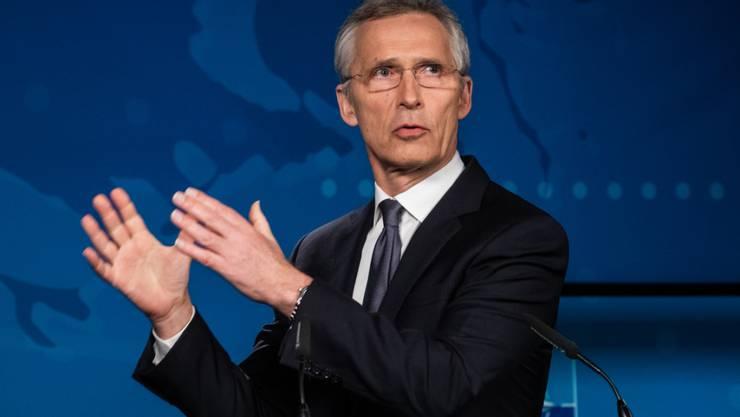 ARCHIV - Jens Stoltenberg, Generalsekretär der Nato, spricht bei einer Pressekonferenz. Foto: -/NATO/dpa - ACHTUNG: Nur zur redaktionellen Verwendung und nur mit vollständiger Nennung des vorstehenden Credits