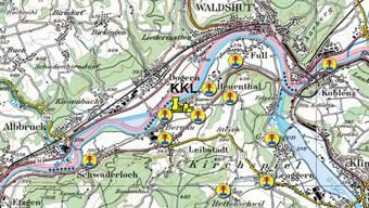 Erhöhte Radioaktivität beim Kernkraftwerk Leibstadt (KKL) gemessen (hier die Übersichtskarte mit den verschiedenen Messstellen in der Umgebung). – Quelle: Ensi/Reproduziert mit Bewilligung von swisstopo (JM100001)