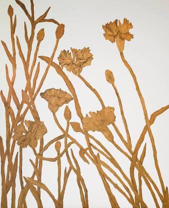 Monumental in der Wirkung und im Format (205× 160 cm), aber auf das Wesentliche reduziert: Anne Loch malte die Pflanzen mit Goldbronze auf Leinwand. Das Bild des Bündner Kunstmuseums entstand 2010, vier Jahre vor ihrem Tod.