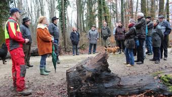 Bevor mit Holzen begonnen wird, stehen die Förster (links) den Telli-Bewohnern Red und Antwort.