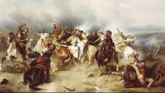 Die berühmteste, allerdings nicht kriegsentscheidende Szene im 30-jährigen Krieg: König Gustav II. Adolf von Schweden stirbt in der Schlacht bei Lützen am 16.November 1632.