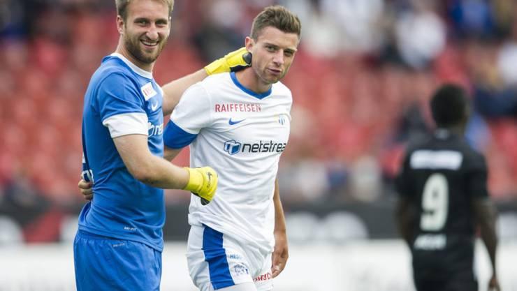 Mannschaftskameraden aus alten Zeiten: Die ehemaligen FCZ-Spieler Philippe Koch (rechts) und Goalie David Da Costa (links) spielen beim Serie-B-Verein Novara wieder im selben Team