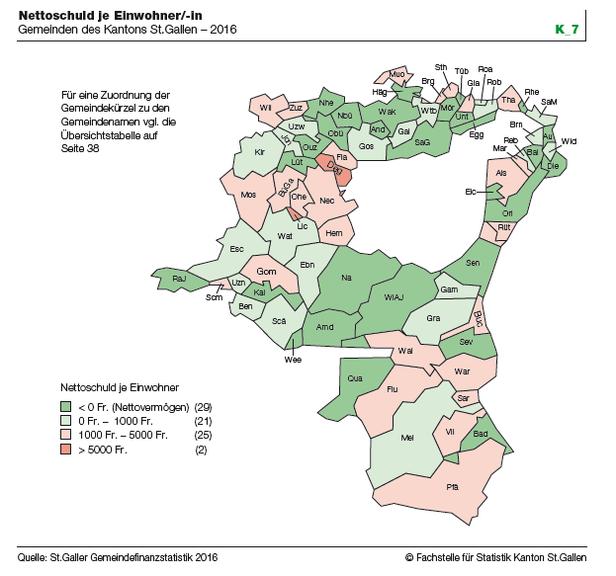 Die Nettoschuld der Gemeinden pro Kopf. (Grafik:pd)