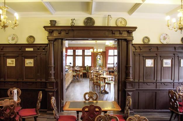 Das «Rathstübli» im ersten Stock. Nur wenig ist hier seit dem Neubau von 1915 verändert worden. Für die Innenarchitektur verantwortlich zeichnete Heinrich Flügel. Bild: Niko Makris