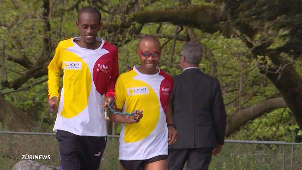 Blinder Läufer am Zürich Marathon