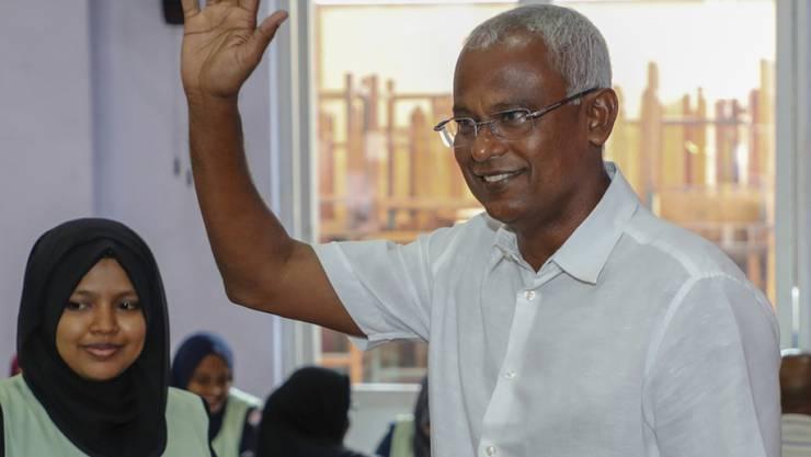 Ibrahim Mohamed Solih am Sonntag bei der Stimmabgabe - er gewann die Wahl überraschend.