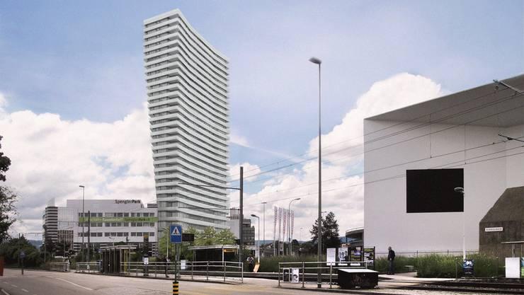 So soll das neue Hochhaus im Spenglerpark aussehen.