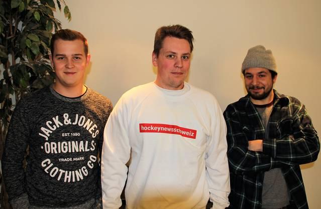 Dieses Trio steht hinter Hockey News Schweiz (von links): Nicola Lüssi, Nik Dömer und Filip Bolt.
