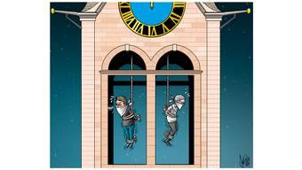 Karikaturist Silvan Wegmann meint: «Glocke weg, dafür die Streithähne reinhängen und Ruhe ist.»