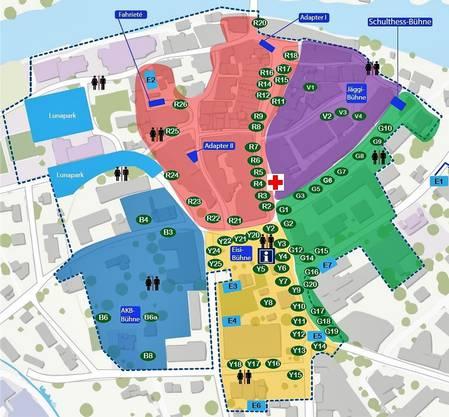 Diverse Bühnen und Beizen: Das Festgelände ist – passend zum Stadtfest-Motto – in unterschiedlich farbige Sektoren unterteilt.