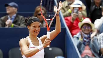"""Sie strahlt zurecht: Viktorija """"Viki"""" Golubic hat gerade ihr erstes WTA-Turnier gewonnen."""