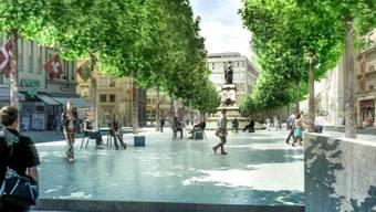 Mit dem Bubenberg-Denkmal in der Mitte des Platzes: So könnte dereinst der Berner Hirschengraben vom Ausgang der neuen Fussgängerunterführung aus aussehen.