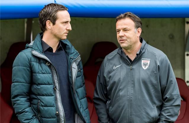 Sportchef Sandro Burki (links) und Trainer Patrick Rahmen wollen Neumayr behalten, dieser will die Kaderplanung abwarten