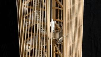 Das Turmmodell der Architektin Sandra Horat, wie er auf dem höchsten Punkt des Cheisackers, Gansingen, gebaut werden soll. (sh/Archiv)