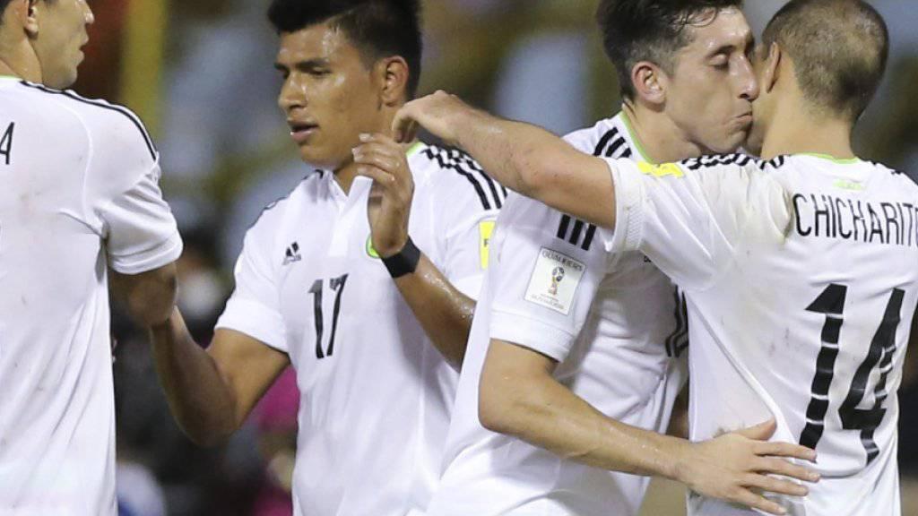Die mexikanischen Spieler bejubeln die WM-Qualifikation