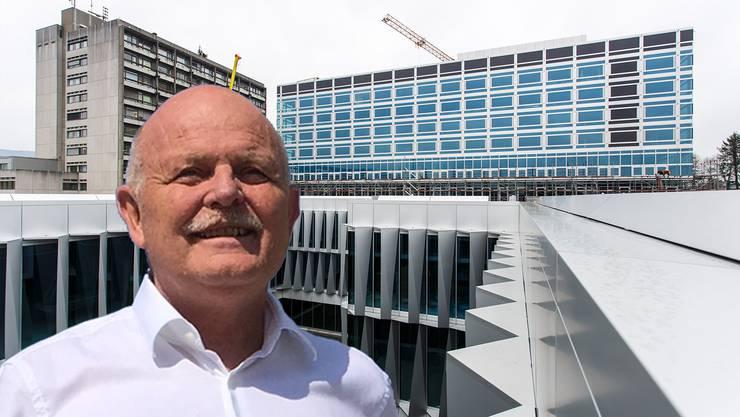 Kantonsbaumeister Bernhard Mäusli und seine letzte Grossbaustelle: Das Bürgerspital Solothurn soll im nächsten Frühling in Betrieb genommen werden. Für den 13. Mai ist die offizielle Eröffnungsfeier geplant, am 16./17. Mai sollen Tage der offenen Türe für die Bevölkerung stattfinden.