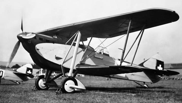 Eine Maschine des Typs K+W C-35 der Schweizer Luftwaffe. Das Bild wurde vermutlich Ende der 1930er Jahre aufgenommen.