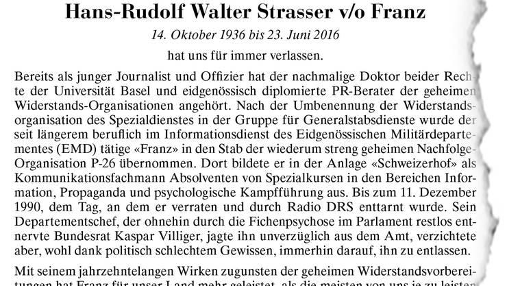 Die Todesanzeige von Hans-Rudolf Walter Strasser v/o Franz